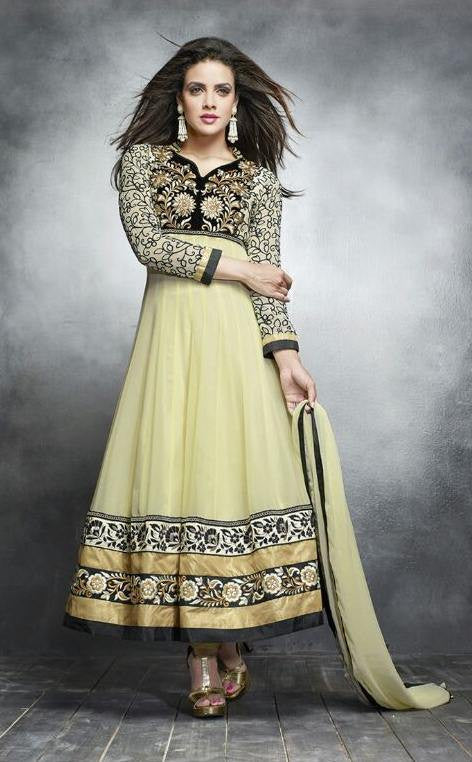 cbcc907744 Cream,Georgette,Designer suits,suits,party wear,anarkali,embroidered suits. Heavy  embroidered ...
