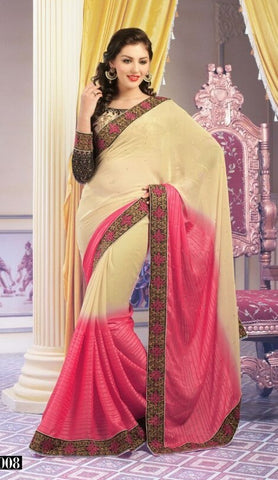 Saree Pink  , Orange,Georgette