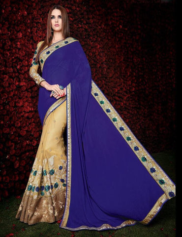Designer Blue and beige saree for parties and events