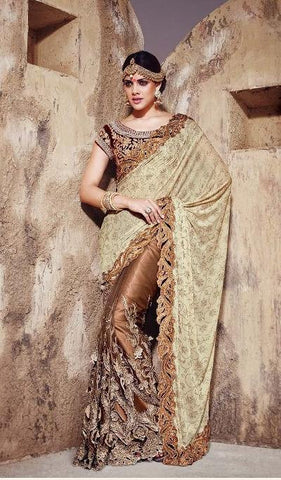 Saree Beige , Brown,Improted