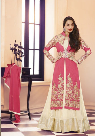 Pink and beige embroidered work anarkali long length semi stitched suits