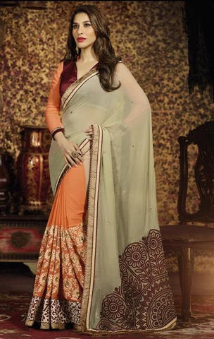 Saree Beige , Orange,Georgette