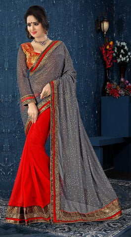 Saree Red & Grey,Georgette