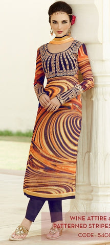 heer suits orange & Blue,Viscose Georgette