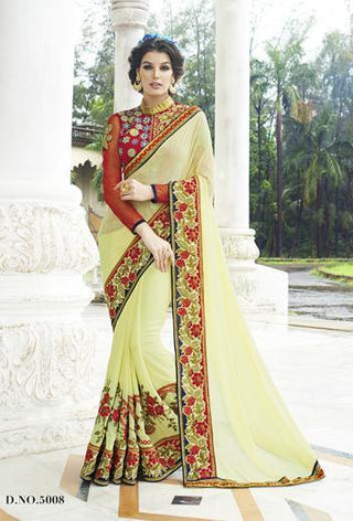 Light yellow (lime) Georgette bridal saree