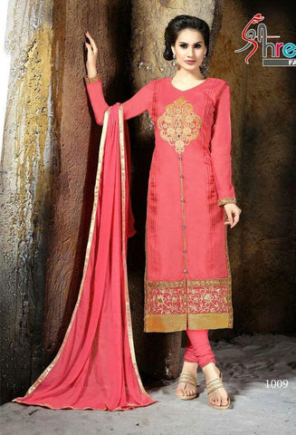 Red straight knee length long salwar suits with pink dupatta