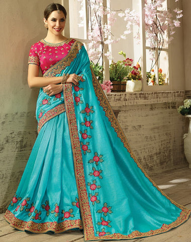 Blue Two Tone Silk Saree With Pink Blouse