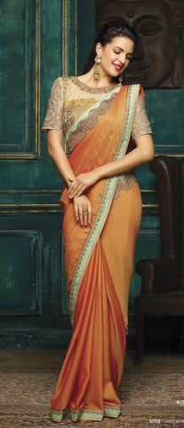 Orange,Georgette,Party wear designer saree