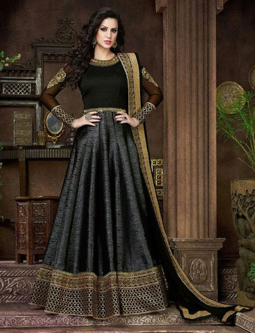 Black,Chiffon,Heavy designer anarkali party wear suits