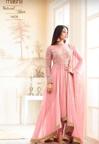 Pink Georgette Fron Slit High Low Style Anarkali Suit Along Dupatta