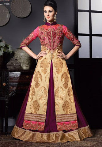 Purple , Beige,Bhagalpuri silk,Heavy anarkali wedding wear party wear suits