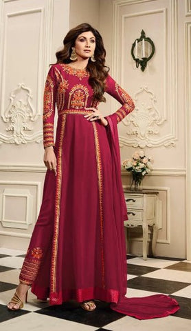 Magenta Pink High Waist Side Slit Anarkali Suit With Dupatta