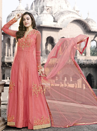 Pink Anarkali Suit With Dupatta