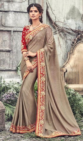 Beige,Net,Designer wedding lehenga saree