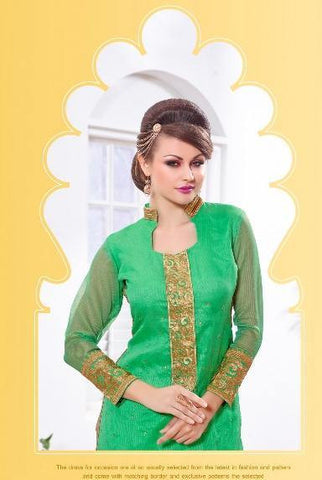 Green straight knee length salwar suits dress material with beige dupatta