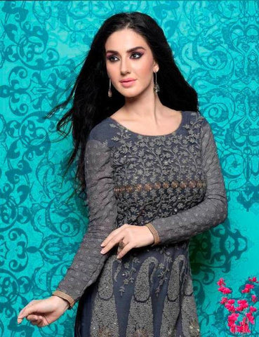 Heavy embroidery grey designer long straight salwar suits with embroidery work