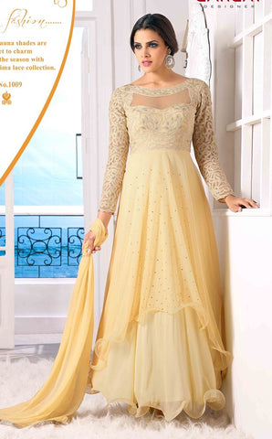 Beige designer floor length long embroidery on top frill anarkali frock suits