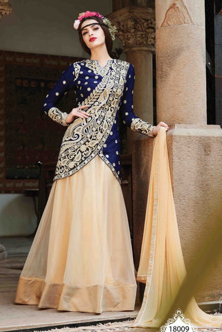Lehenga style designer floor length long semi stitched suits with heavy embroidery on top
