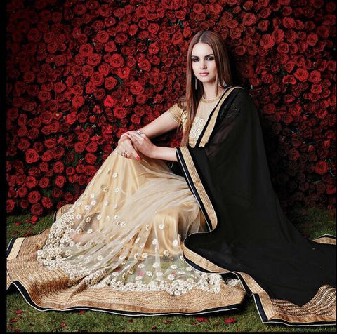 Designer off white and black net saree for parties and wedding