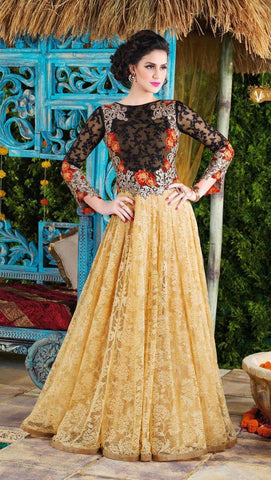 Heavy embroidery beige long floor length anarkali gown with chiffon dupatta