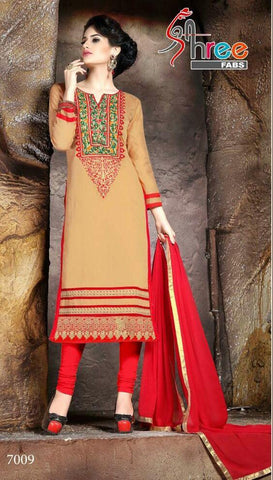 Beige and red embroidered straight salwar suits dress material with red dupatta
