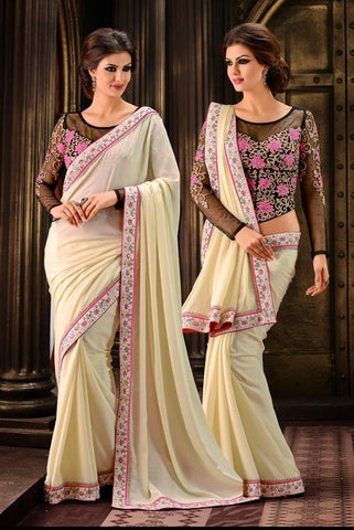 Saree Cream , Black,Chiffon