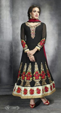 Black , Red,Georgette,Designer suits,suits,party wear,anarkali,embroidered suits,heavy suits,kaya,salwar suits,salwar