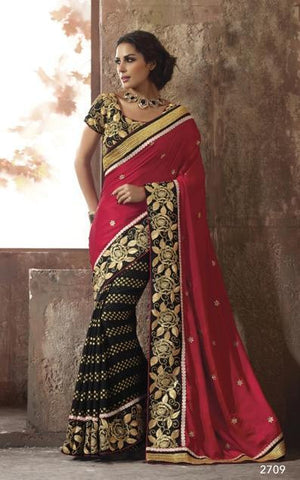 Saree Red & Black,Viscos