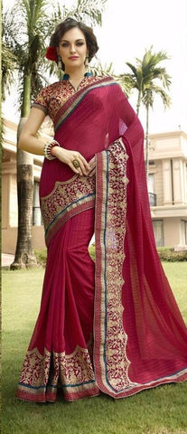 Red , pink,Georgette,Buy designer georgette saree with embroidery work