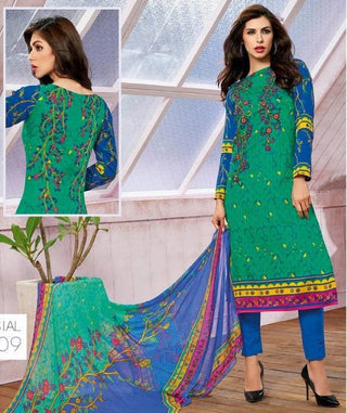 Green designer straight knee length multicolor salwar suits dress material