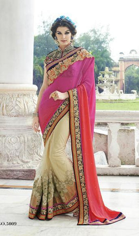 Pink and beige net and Georgette  Beige bridal saree with shaded pallu