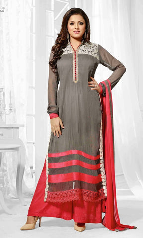 Salwar suits,Top :georgette,dupatta : chiffon,color grey,red