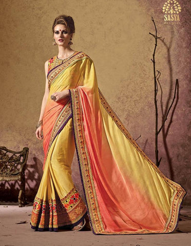 Multiclored yellow and orangesaree