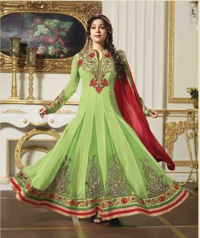 Green embroidered long floor length designer anarkali suits with heavy embroidered