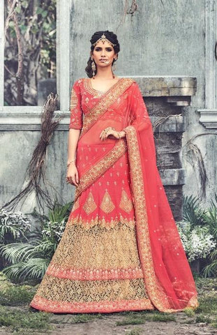 Red,Net,Designer wedding lehenga saree