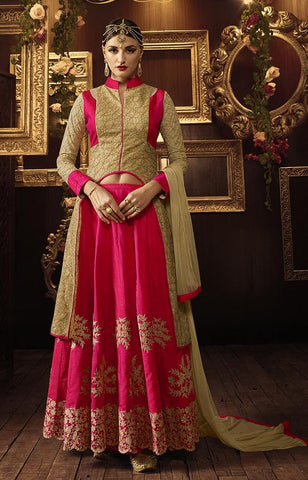 Pink , Beige,Net,Designer party wear anarkali suits