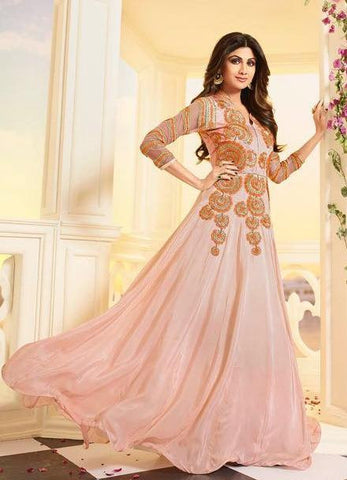 Peach,Satin,Anarkali designer heavy party wear floor length suits