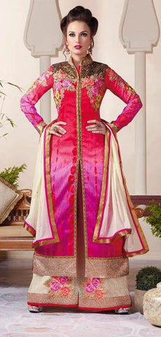 Multicolor,Silk,Heavy designer anarkali floor length suit