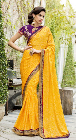 Yellow , Purple,Chiffon,Party wear designer saree