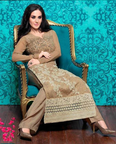 Beige designer heavy embroidery long straight salwar suits with chiffon dupatta