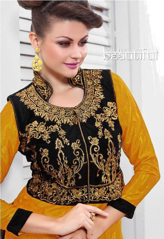 Embroidered yellow and black straight knee length salwar suits dress material