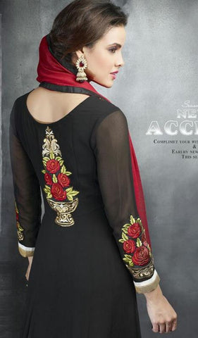 Black long floor length designer heavy embroidered on bottom anarkali suits with red dupatta