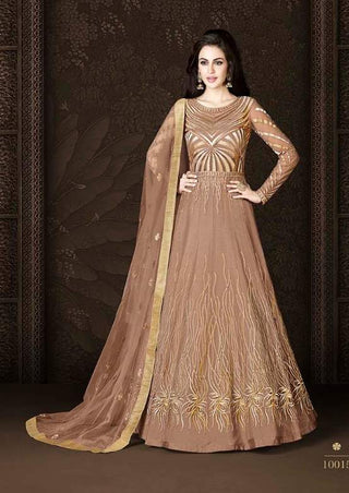 Brown Net Heavy Anarkali Dress With Brown Dupatta