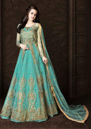 Aqua Blue Net Heavy Anarkali Dress With Aqua Blue Dupatta