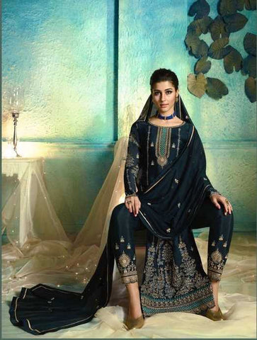 Cyan Georgette Party Wear Salwar Kameez With  Dupatta
