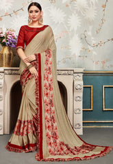Beige Chiffon Party Wear Saree With Red Blouse