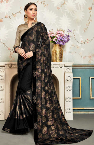 Black Chiffon Party Wear Saree With Gold Blouse