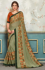 Green Chiffon Party Wear Saree With Orange Blouse