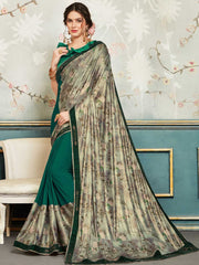 Green And Silver Chiffon Party Wear Saree With Green Blouse