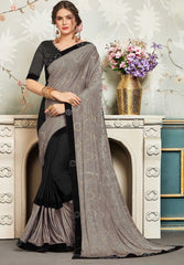 Black And Grey Chiffon Party Wear Saree With Black Blouse